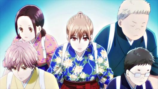 Chihayafuru - Kana, Taichi, Chihaya, Nishida, and Komano